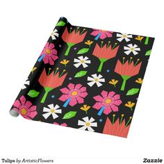 Shop Tulips Wrapping Paper created by ArtisticFlowers. Flower Patterns, Flower Designs, Envelope Labels, Summer Wraps, Custom Wrapping Paper, Different Flowers, Pretty Flowers, Tulips, Create Your Own