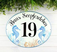 Housewarming Gift Outdoor Decor Coastal Personalized Sign House Number Plaque Address Sign Custom Sign Address Plaque Surfer on Wave