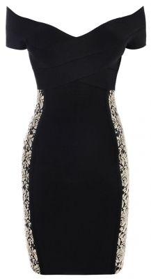 Off-Shoulder Black Bandage Dress with Gold Lace Panels