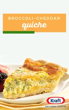 Broccoli-Cheddar Quiche – Start with pre-made pie crust, fill with an egg, Cheddar cheese, and broccoli mixture and you've got a deliciously savory breakfast recipe. If you want to wow your brunch crowd, this is the dish for you! What's For Breakfast, Savory Breakfast, Breakfast Dishes, Breakfast Recipes, Breakfast Casserole, Broccoli Cheddar Quiche, Cheddar Cheese, Cheese Quiche, Quiche Recipes
