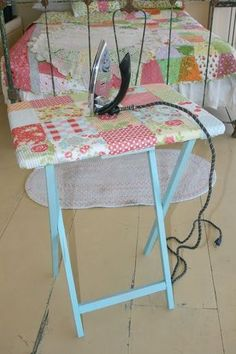Must try this for my small sewing room! -- QUILT BARN: Mini Ironing Table Tutorial #sewingorganization