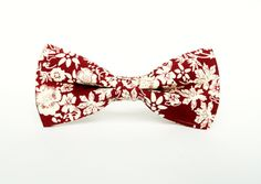 Men's Floral Burgundy Bow tie Floral Pre-Tied by TheStyleHubTrends