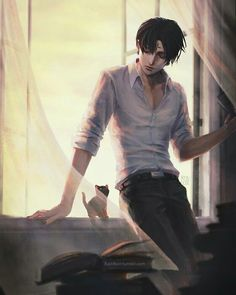 Levi<<< that is not Levi! It's Chrollo Lucifer from Hunter x Hunter! Levi is not tall! And btw look at his forehead to.