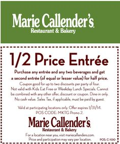 Pinned January 21st: Second entree 50% off at #Marie Callenders restaurant & bakery #coupon via The Coupons App