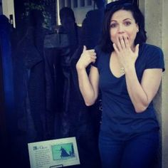 Lana looking at her costume!! That was me when I saw them at Disneyland lol!!! Hehehe