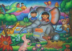 'Elephant Car' by Levina Chandra, Age 9, Indonesia: 4th Contest, Silver #KidsArt #ToyotaDreamCar