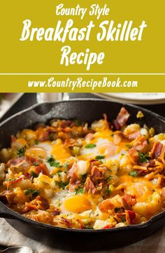 Make the most delicious and easy country breakfast skillet. Eggs, potatoes, bacon, green pepper, cheddar cheese and you have an awesome breakfast for the whole family. Try something new this weekend. You are gonna love this recipe!