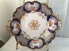 Stunning centerpiece plate Sevres style porcelain a loot of cobalt gold gilt and flowers. Sorry, covered centerpiece already sold. You can see all of pieces together on the last picture. | eBay!