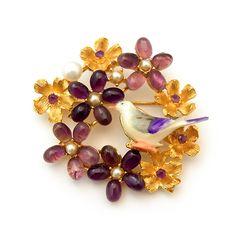 ヴィンテージ SWOBODA(スワボダ)☆本真珠とアメジスト天然石のお花畑とパープル小鳥のブローチ - Antique Voyage (アンティーク・ボヤージュ)