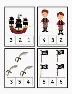 Aprender Brincando: Projeto: Piratas - para Educação Infantil Preschool Pirate Theme, Pirate Activities, Toddler Activities, Preschool Activities, Pirate Day, Pirate Birthday, Pirate Crafts, Math Numbers, Preschool Printables