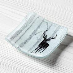 iapetus fused glass dish - moonlit forest - mini - stag