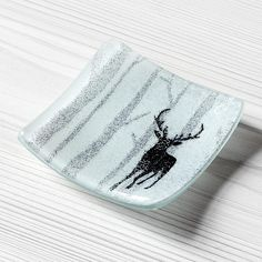 iapetus fused glass dish - moonlit forest - mini - stag