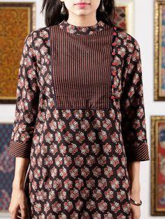 Black Maroon Ivory Ajrakh Hand Block Printed Kurta in Natural Colors - – InduBindu Neck Designs For Suits, Neckline Designs, Dress Neck Designs, Designs For Dresses, Blouse Designs, Printed Kurti Designs, Simple Kurti Designs, Churidar Designs, Kurta Designs Women