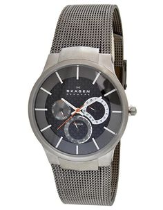 timeless design 03a04 020ec Skagen 809XLTTM Men s Titanium Carbon Fiber Dial Quartz Day Date Mesh Watch