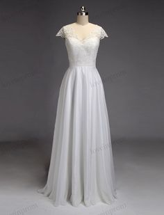 Vintage cap sleeves lace wedding dresses white ivory chiffon fabric with v neck and back /floor length reception wedding bridal gown ZP22 Rush order link : https://www.etsy.com/listing/204394416/rush-order-for-the-custom-made-dresses?  Fabic/color sample link: https://www.etsy.com/listing/202864583/color-sampleschiffon-fabric-swatch?ref=shop_home_active_1  Size/Measurements Chart link : https://www.etsy.com/l...