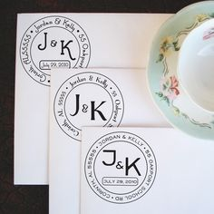 Wedding Monogram Address Stamp  Medium by purplelemondesigns, $28.00