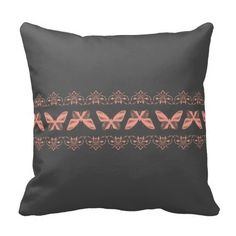 Pink Moths and Lace against Gray Throw Pillows