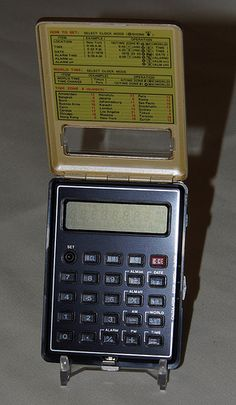 Vintage Sharp Electronic LCD Calculator, Model CT-550, Made in Japan, a Combination of a Clock, Stop Watch and Calculator in a Very Small Case, Circa 1977.