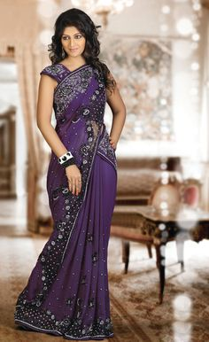 Attractive Purple Saree