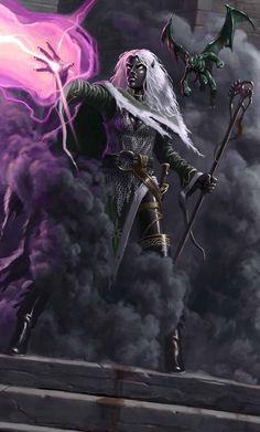 d&d dark elf homonculous Una Drow con il suo omuncolo - by Craig J. Spearing Dragon Magazine #387 (2010-05) © Wizards of the Coast & Hasbro
