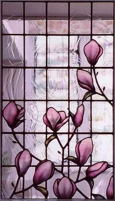This is truly lovely in its simplicity - Magnolia stained glass panel - I want it.... No place to put it - have to admire it here....