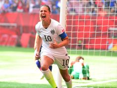 United States midfielder Carli Lloyd reacts after scoring a goal against Japan in the first half of the final of the FIFA 2015 Women's World Cup at BC Place Stadium.  Anne-Marie Sorvin, USA TODAY Sports