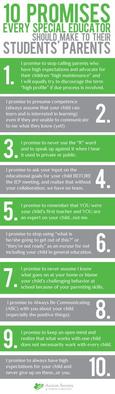 10 promises every special educator should make to student's parents. Print for back to school packets.