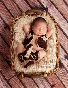 Baby Cowboy Hat and Boots | Baby cowboy hat, boots, vest and diaper cover with chaps
