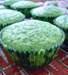 Green cupcakes - NO food coloring involved!!  They have spinach so they're healthy but it says they don't taste like it.  A good way to trick the kids into eating vegetables.
