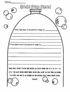Soda Pop Head- Dealing with our anger by Buckeye School Counselor Counseling Worksheets, Therapy Worksheets, Counseling Activities, Art Therapy Activities, Group Counseling, Group Activities, Elementary School Counseling, School Social Work, School Counselor
