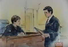 courtroom sketch of a scene.
