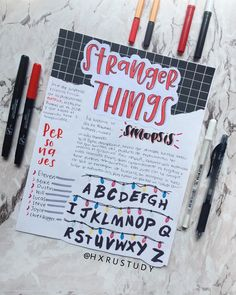 i love stranger things Bullet Journal School, Bullet Journal Ideas Pages, Bullet Journal Inspiration, Cute Notes, Pretty Notes, Stranger Things Netflix, School Notes, Study Notes, Doodles