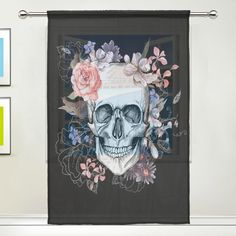 WOZO Custom Vintage Skull Floral Sheer Panel Pair Curtains 55'x78', 1-Piece Mexica Sugar Skull Modern Modern Window Treatment Panel Collection for Living Room Bedroom Home Decor -- See this great product. (This is an affiliate link and I receive a commission for the sales)