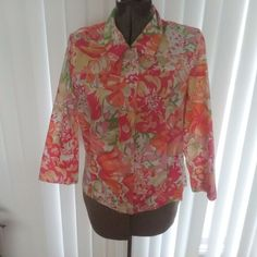 Appleseeds womens light summer jacket coat size 4P cotton pink floral Euc #Appleseeds #BasicJacket #Casual