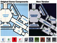 A comparison of the game components in the original print game and the digital redesign for BGE.