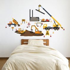 Adhesive fabric wall decals reusable, repositionable and removable construction site trucks. Dump Truck, bulldozer, excavator, crane truck, building and cement mixer with a wheelbarrow. There are 4 construction signs and 19 cones. Your child can design his very own construction site using our peel & stick decals that are reusable. Great for kids rooms and playrooms with no damage to walls! Our last 2 photos above show our construction site with add on 4 construction vehicles and road - so...