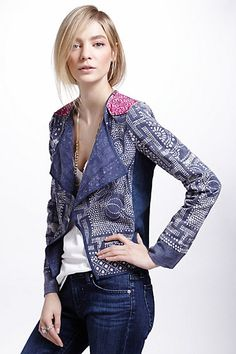 Anthropologie $298 Floral Batik Drapey Jacket  This flawy lapel blazer features vintage batiks handmade in the mountainous regions of southeast Asia.