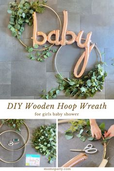 baby shower decorations 617767273872986918 - An elegant wooden hoop wreath with fresh greenery and the rose gold baby script balloon for a baby shower. Check out the link for the the step by step DIY guide! Source by momopartykids Boho Baby Shower, Shower Bebe, Baby Boy Shower, Baby Shower Gifts, Baby Shower Prize, Baby Shower Roses, Baby Shower Souvenirs, Elegant Baby Shower, Unique Baby Shower