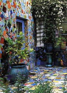 mosaic - a funny mosaic garden on the shady side of the studio? That would be unexpected! (AND alot of work!)