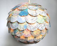Artichoke Road Map Pendant Light - Hanging Paper Lantern - Shade Only