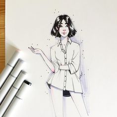 Hi  #illustrator #copicsketch #artistsofinstagram #ink #illustration #girl #goodmorning #morning
