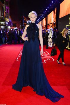 Gwendoline Christie in Giles attends the European Premiere of 'Star Wars: The Force Awakens' on December 16, 2015