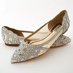 Badgley Mischka Wedding Shoes. Spectacular ivory flat bridal shoes, crystal trim, pointy toe, pure glam. Shoe love.