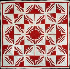 Red and white fan pattern quilt, c. 1900