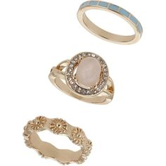 Miss Selfridge Pastel Semi Precious Ring Pack ($5) ❤ liked on Polyvore