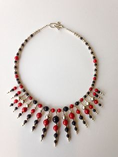 Necklace: Onyx, Red Coral, Sterling Silver