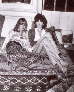 Anita Pallenberg & Keith Richards at home, 3 Cheyne Walk, Chelsea, just a few houses down from Mick and Marianne. Anita had just given birth to their son Marlon, August, 1969.