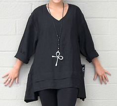 MOSAIC-USA-2420-Midwt-Linen-FLARE-POCKET-TUNIC-2-Layer-Hem-Top-S-M-L-XL-BLACK