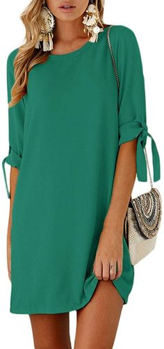 A beautiful green tshirt dress for women that is also available in various colors. Casual basic style mini dress suitable for all occasions, generous and decent, elegant. Cute Lace Dresses, Elegant Dresses Classy, Cute Casual Dresses, Classy Dress, Pretty Dresses, Mini Dresses, Short Summer Dresses, Summer Dresses For Women, Summer Tunics