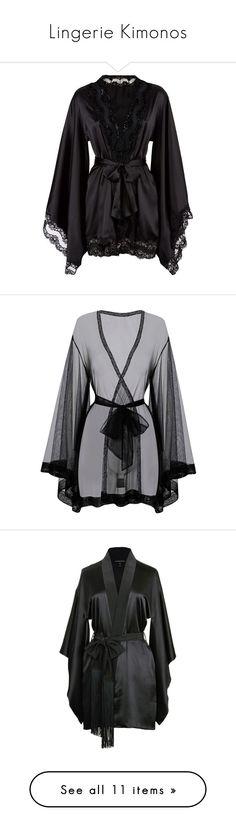 """Lingerie Kimonos"" by yandereotaku ❤ liked on Polyvore featuring intimates, robes, lingerie, pajamas, dresses, underwear, kimono robe, agent provocateur lingerie, black kimono robe and black robe"